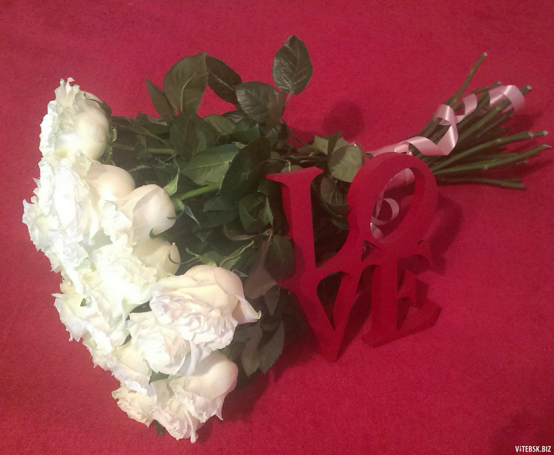 Фото девушка с букетом белых роз, цветы купить фиалки